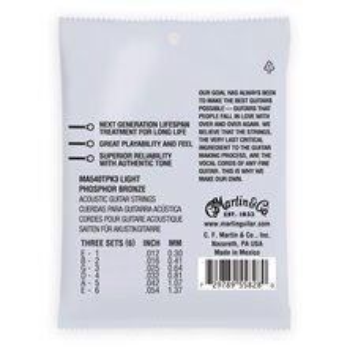MARTIN Authentic Lifespan 2.0 92/8 Phosphor Bronze Light - 3 Packs