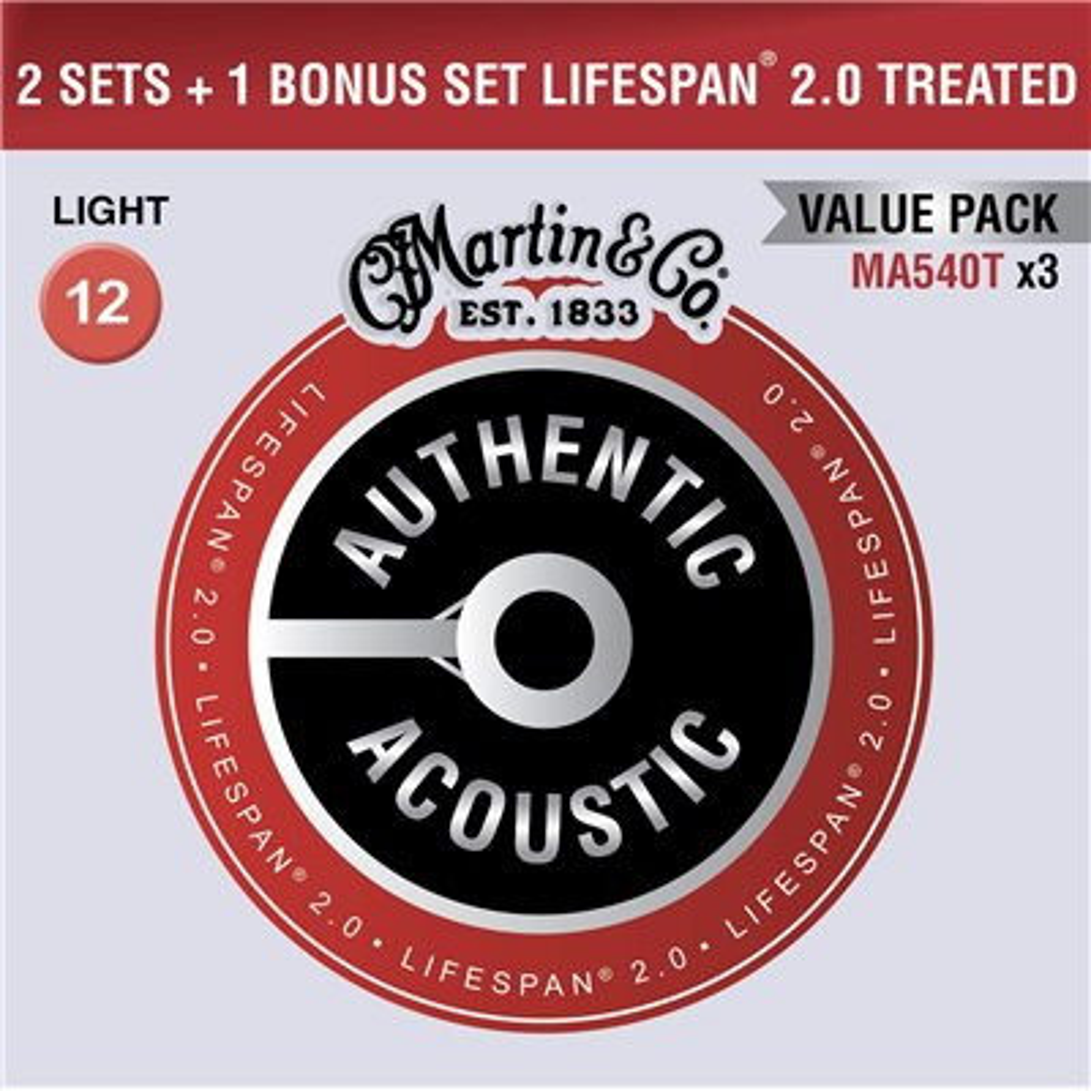 MARTIN Authentic Lifespan 2.0 92/8 Phosphor Bronze Light - Limited 3 Packs
