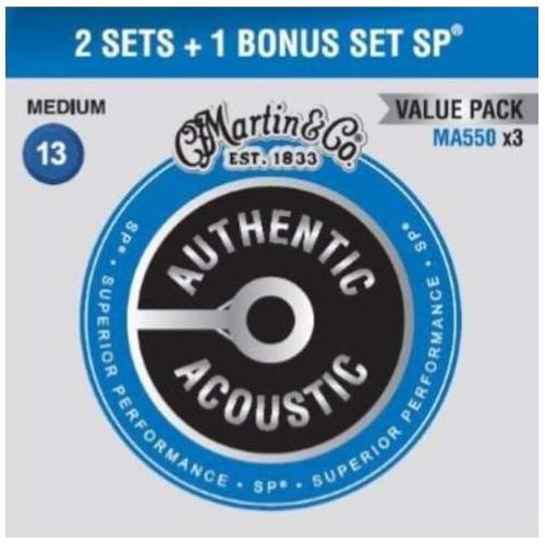 MARTIN Authentic SP 92/8 Phosphor Bronze Medium - Limited 3 Packs