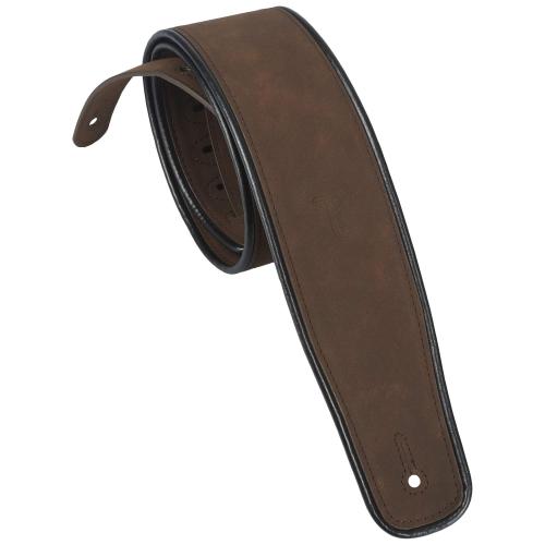 PERRI'S LEATHERS 7167 Brown Piped Microfibre Guitar Strap